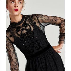 NWT Zara Black Embroidered Lace Dress